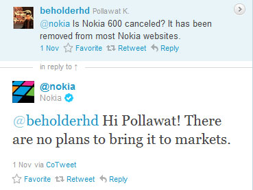 Nokia 600 reply on Twitter